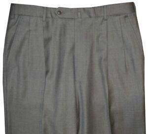 PREOWNED-INCOTEX-ITALY-MEDIUM-GRAY-2-PLEAT-SUPER-100-039-S-HAND-MADE-DRESS-PANTS-34