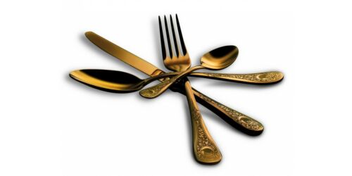 Mepra Place Table 4 Pieces Cutlery Item Diana The Gold Luxury Item Mepra