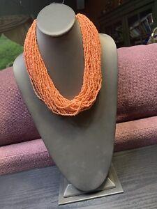 Vintage-Boheniman-Peach-Glass-Seed-Bead-Multi-Strand-Necklace-Boho-20