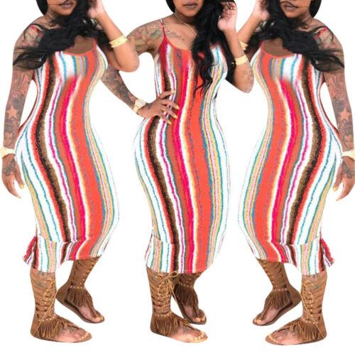 Women spaghetti strap bodycon club party casual striped ruffled dress