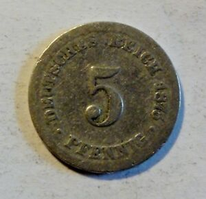 Deutsches-Kaiserreich-5-Pfennig-1875-Kaiser-Wilhelm-I-1871-1888-nur-s-o