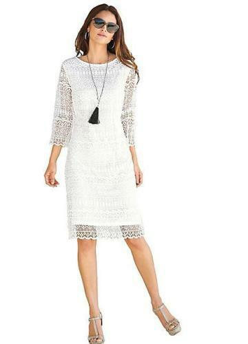 Ladies Alessa W Collection White Lace Shift Dress UK Sizes 12 & 14- NEW