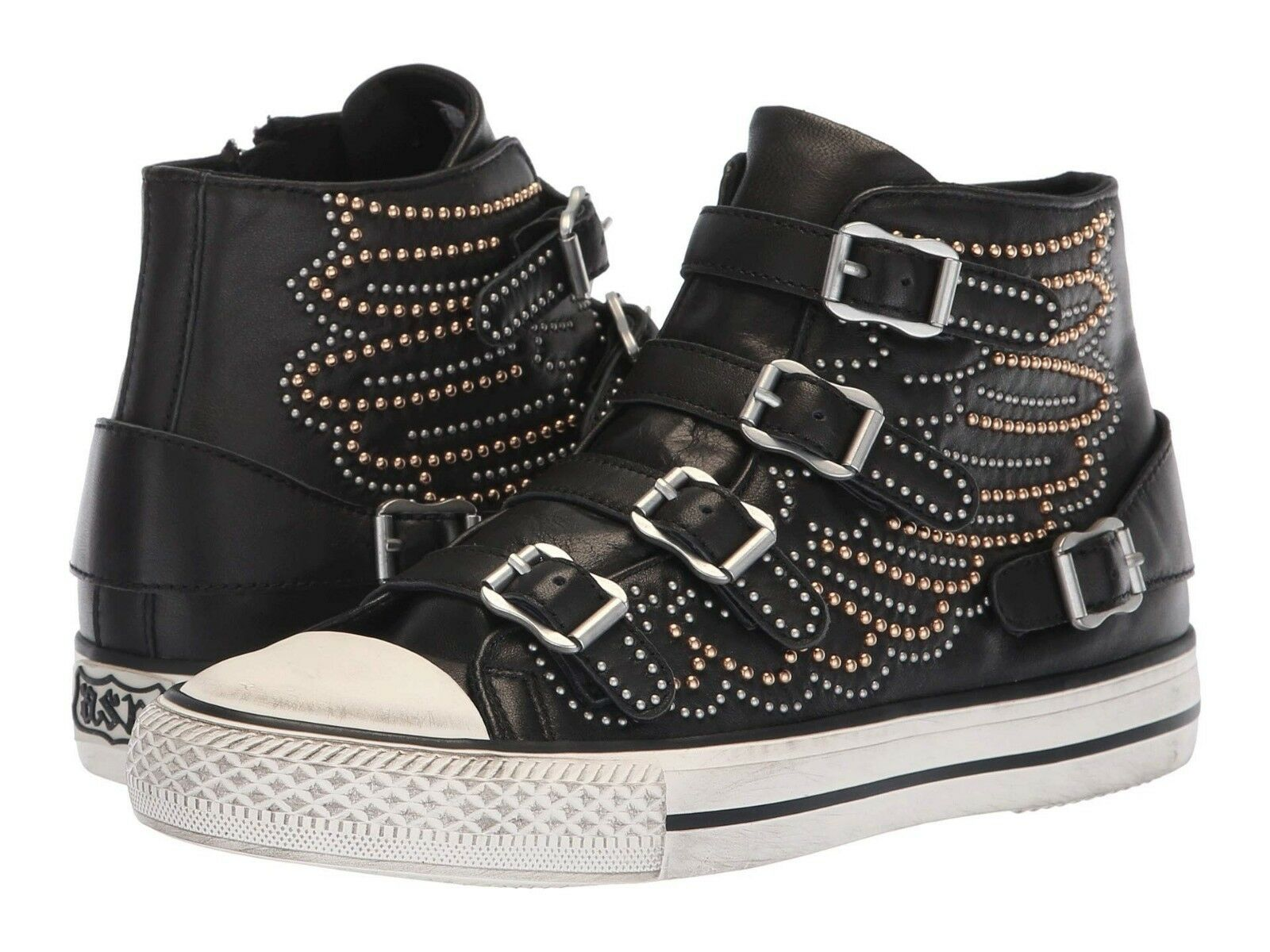 NEW ASH Brand Women's Fashion Verso Leather Biker Studded Wings Sneakers shoes