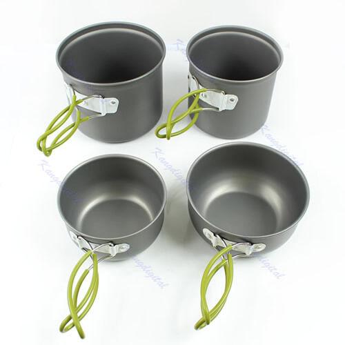 4pcs Outdoor Camping Hiking Cookware Backpacking Cooking Picnic Bowl Pot Pan Set