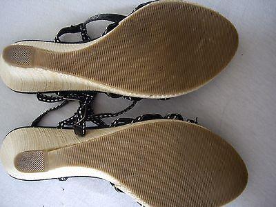 Ravel Negro Con Tiras Sandalias de plataforma de cuña de tejido tamaño 4 condición excelente