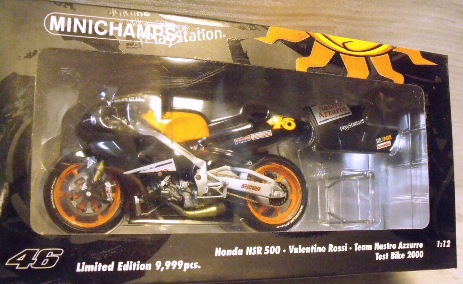 MINICHAMPS 1 12 - Valentino ROSSI - HONDA  NSR 500 Nastro Azzurro Test Bike 2000  livraison rapide