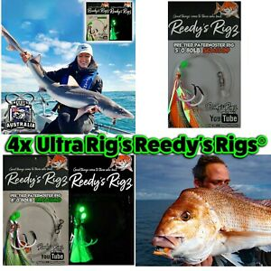 4x snapper Rig 80lb Flasher Tied Size Circle Hook Paternoster Fishing Rigs Bait