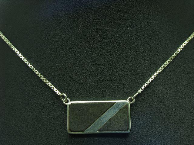 925 Sterling silver Kette & Anhänger mit Kunstmasse Besatz   Echtsilver   43,0cm