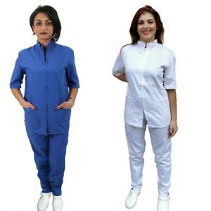 Divisa da Lavoro Completa,Unisex, con Zip Collo Coreano Ospedaliera Estetica Mas