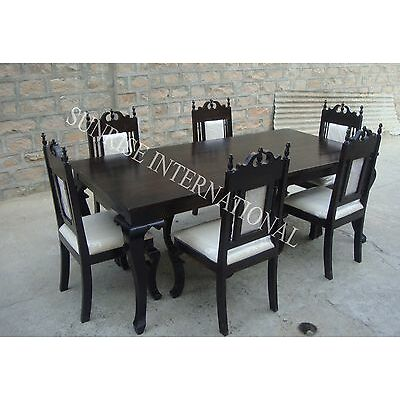 Colonial Style Wooden Dining Table With 6 Chair Set (Sun-Dset669)