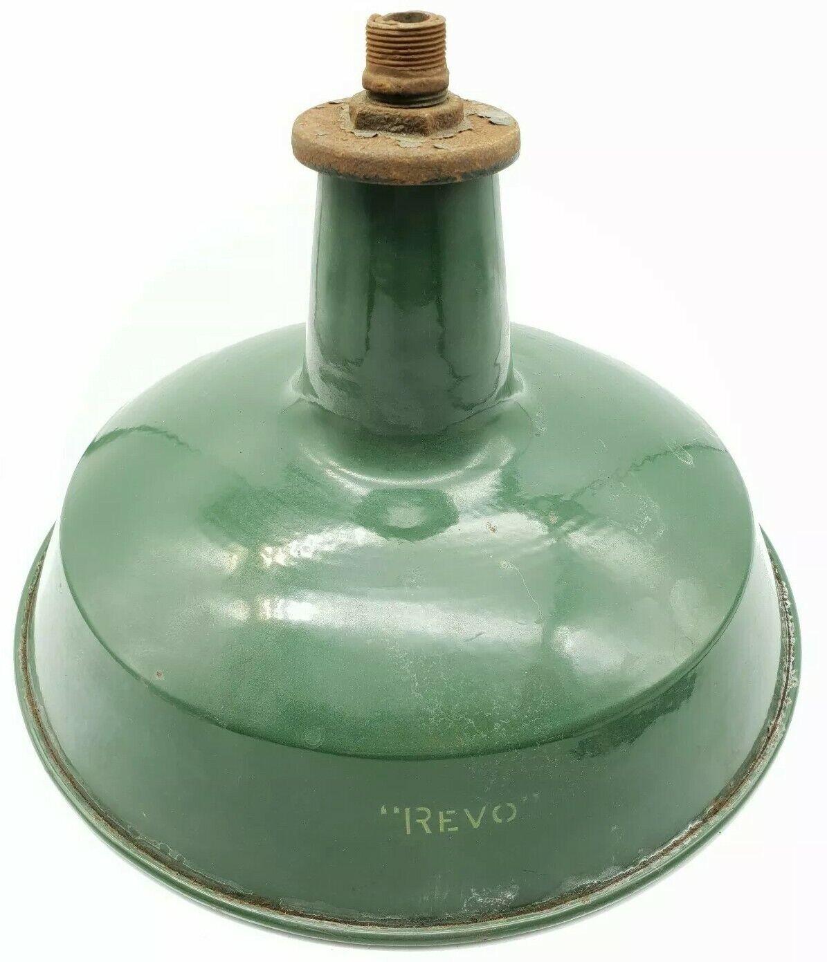 Fabbrica Industriale Revo verde Smalto Plafoniera Plafoniera Plafoniera Lampada Ombra c1950s Look Retrò eb380a