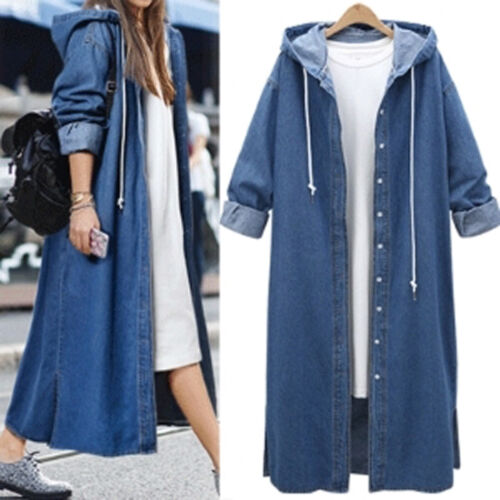 Womens Hooded Blue Denim Trench Coat Jacket Ladies Loose Jeans Long Outerwear