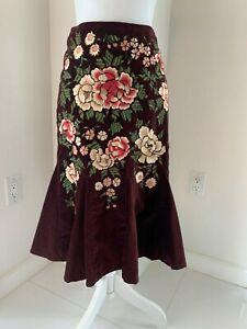 NWT-228-Odille-Anthropologie-Burgundy-Embroidered-Cotton-Velvet-Skirt-SZ-0-XS