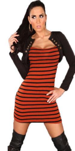 Damen 2-in-1 Minikleid Strickkleid Kleid Bolero Jacke Streifen Militär S 34 36