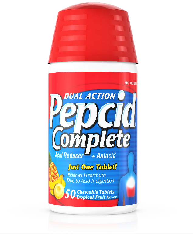 Pepcid Complete 50 Chewable Tablets Acid Reducer Heartburn Relief Tropical Fruit 2