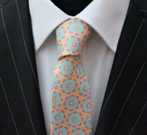Tie Neck tie Slim Pale Yellow with Blue /& Pink Quality Cotton T6183