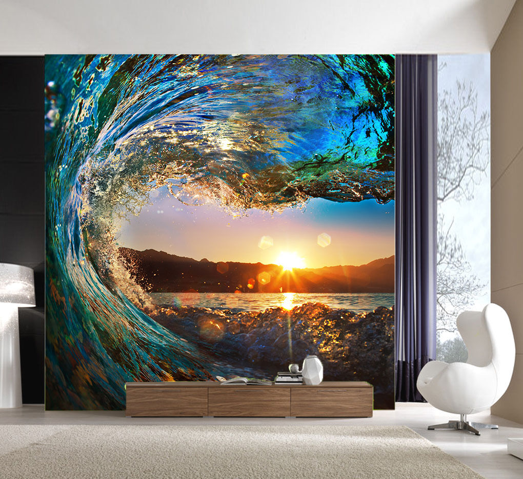 3D Sunset Waves Nature 427 Wall Paper Wall Print Decal Wall AJ WALLPAPER CA
