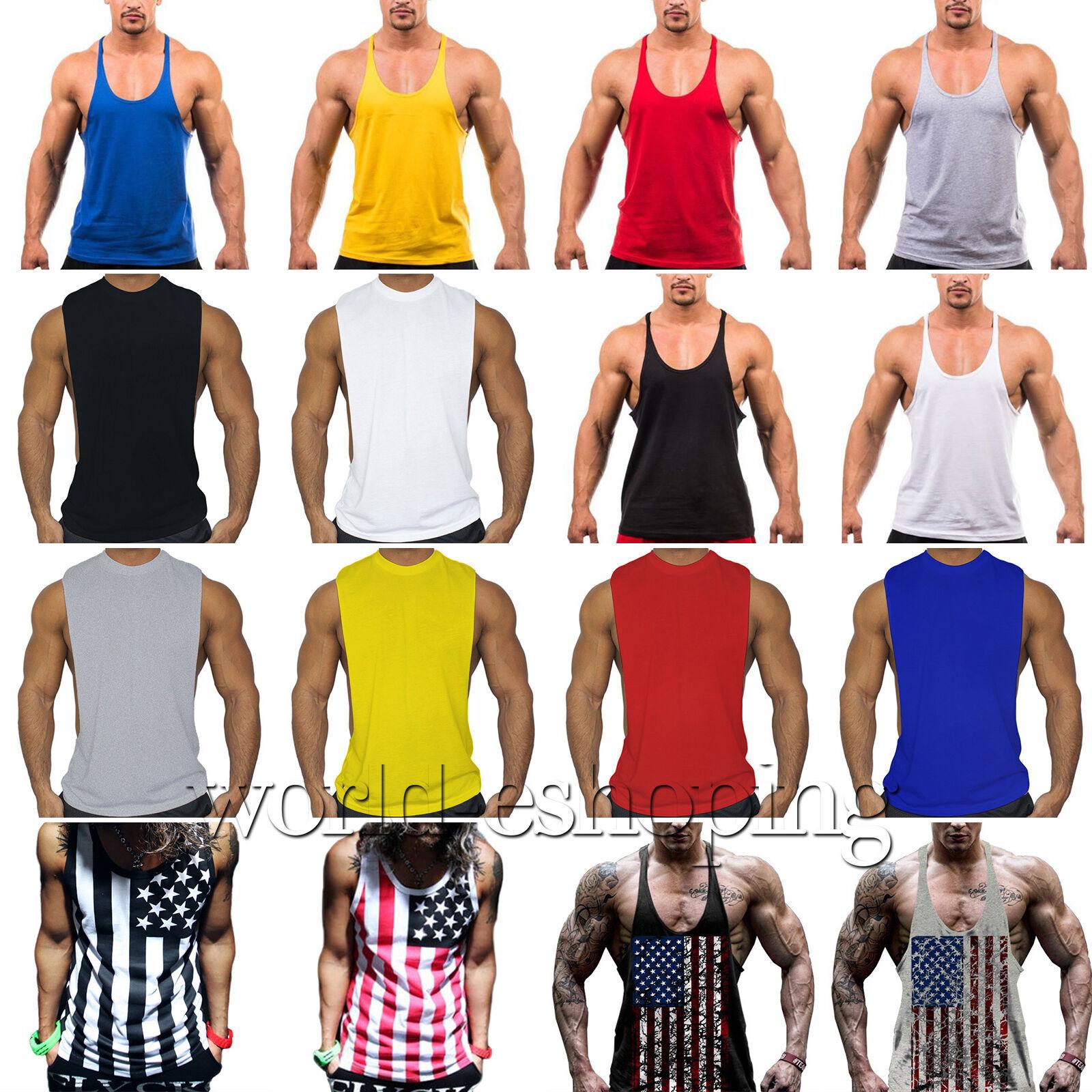 Uomo Palestra Muscoli Camicia senza maniche canotta bodybuilding sportivo