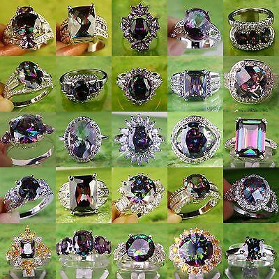 Super Flash Superb Rainbow & White Topaz Gemstone Silver Ring Size 6 7 8 9 10 11