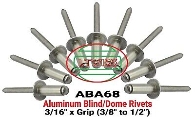 "3//16/"" Dia x 1//2/"" Grip Range POP Rivets ALL Aluminium 6-8 ABA68 QTY 100"