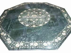 Green Marble Coffee Table Top Malachite MOP Floral Inlay Art Home Decorate H3052