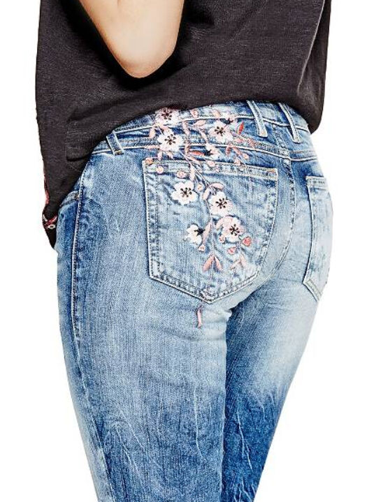 138 GUESS Jeans Rhinestones Embroidered Skinny Low Rise Denim Pants Size 28 NWT