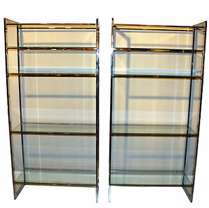 Pair vintage mid century chrome metal shelves etagere display cabinet case - Etagere cases carrees ...
