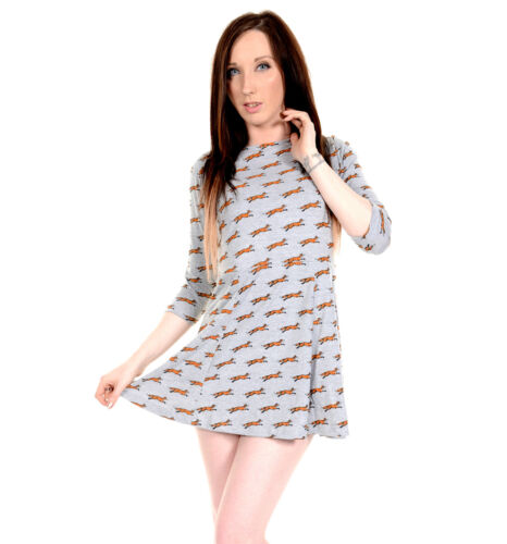 Ladies 60s Retro Running Fox Mini Skater Circle Dress
