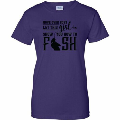 Move Over Boys Let This Girl Show You How To Fish Black Logo Womens T Shirt