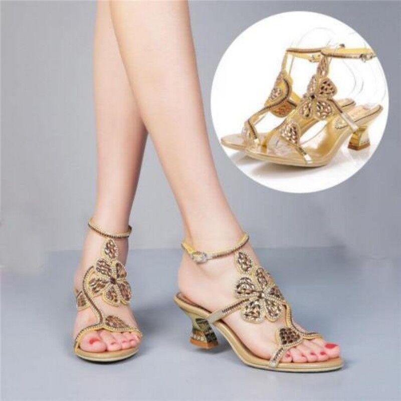 Vestido de Novia Mujer Mujer Mujer Zapatos De Tacón Bloque Peep Toe Pedrería Vestido Fiesta Zapatos de la sandalia Plus talla  nuevo listado