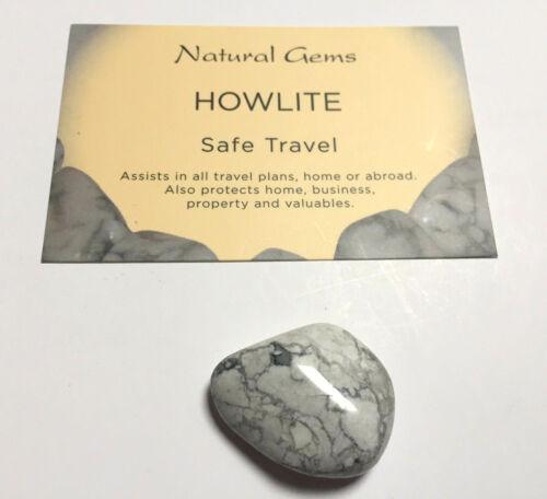 White Howlite Tumblestone 20-25mm with free organza bag and card