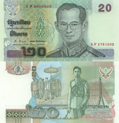 ND King Rama IX//Procession//p109 UNC Thailand 20 Baht