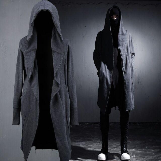 BytheR Men's Grunge Cutting Ultra-long Hoodie Jacket Cardigan SFSELFAA0021386