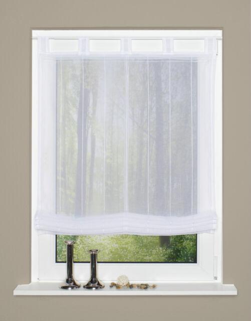 Raffrollo Rollo Schlaufen weiß transparent mit Streifen 80 X 140 Cm ...