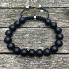 Bracelet HOMME Perle Onyx noir mat / fermeture style shamballa (men man)