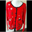 thumbnail 2 - Ugly Christmas Sweater Size XL Red Skies Mittens Winter Cardigan Basic Editions