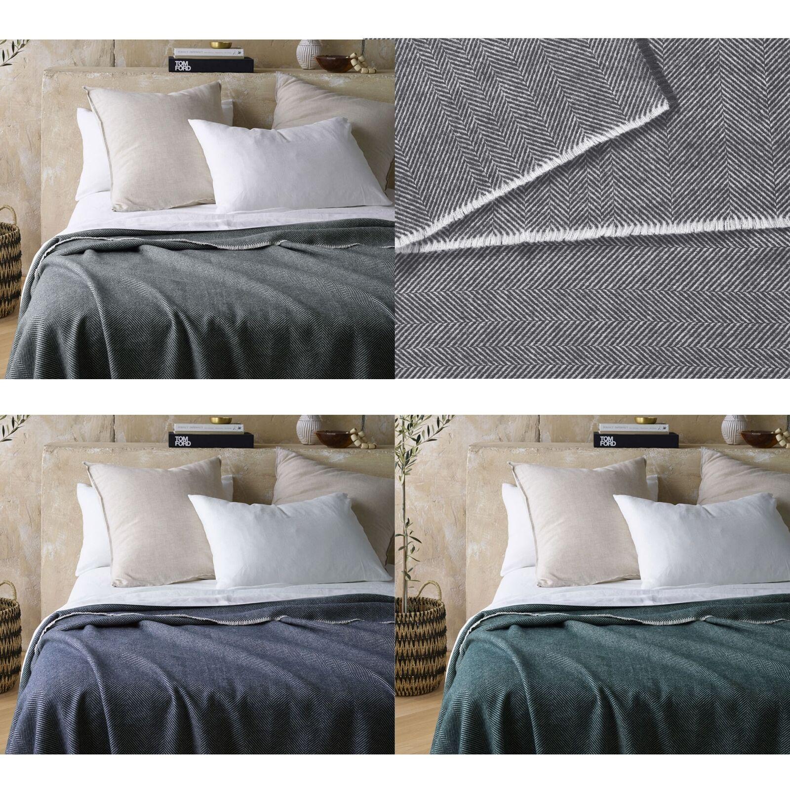 400gsm Herringbone Wool Blanket by Accessorize - SINGLE DOUBLE QUEEN KING