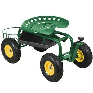 Heavy Duty Rolling Garden Cart Work Seat With Tool Tray Durable Planting Green Ebay