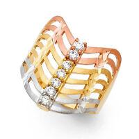 14k Solid Gold Diamond Three Tone Gold Seven Day Semanario Fancy Lady's Ring