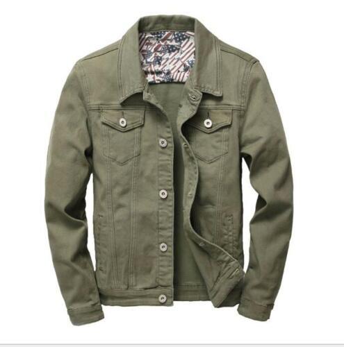 Solid Color Men Jacket Overcoat Fashion Spring Lapel Collar Denim Plus Size NEW