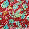 BonEful Fabric FQ Cotton Quilt VTG Red Pink Aqua Green Yellow Flower Leaf Hippie