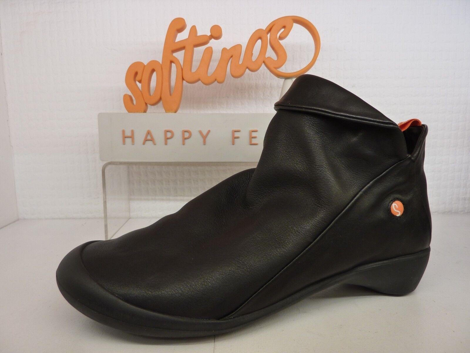 Softinos Happy Feet Farah Morbido Lavato liscia nera in pelle con cerniera all'Interno Scarpa Stivale