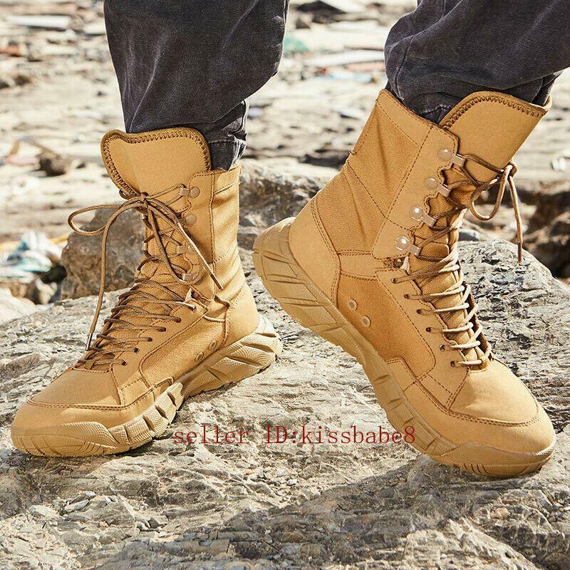 Homme Militaire Tactique Combat Bottines Randonnée de plein air Desert Chaussures Lacets SZ