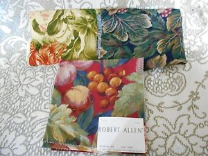 Robert Allen Three Upholstery Fabric Cotton Tapestry Craft Samples