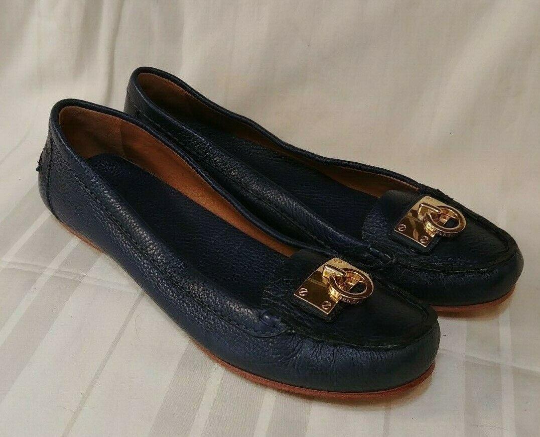 Tory Burch Navy bluee Leather Slip On Flat shoes Womens Size 11 M US
