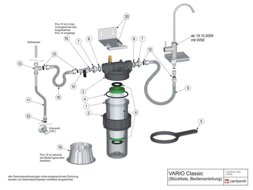 Repostería Repostería Repostería Carbonit vario Classic de agua Brita  tres vías grifo de agua GM, C negra c5c336