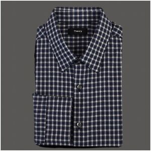Theory-Long-Sleeve-Button-Front-Shirt-Mens-Size-L-Large-Cotton-Check