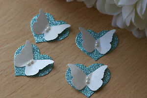 12 ICE BLUE GLITTER HEART amp IVORY BUTTERFLY WEDDING TABLE DECORATION TOPPERS - Nottingham, Nottinghamshire, United Kingdom - 12 ICE BLUE GLITTER HEART amp IVORY BUTTERFLY WEDDING TABLE DECORATION TOPPERS - Nottingham, Nottinghamshire, United Kingdom
