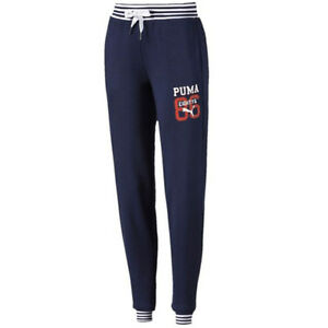 Image is loading Puma-Style-Athletic-Sweatpants-Womens-Jogging-Bottoms-Navy- ff10475caf1