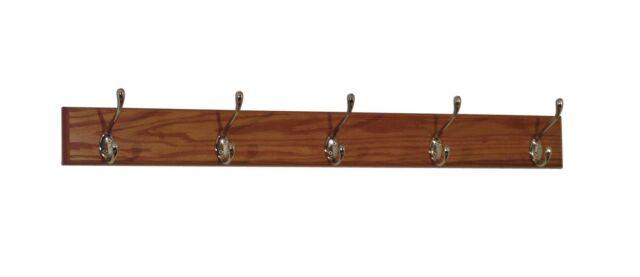 Wooden Mallet 5 Hook Coat Rack Medium Oak 4.5 x 36 x 3.5 inches HCR-5NMO New